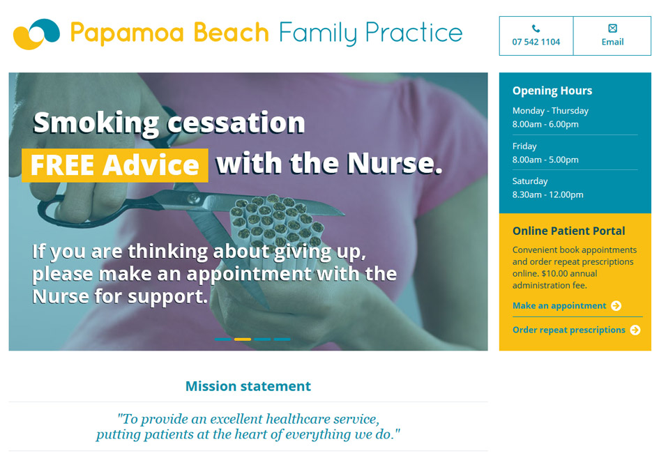 screenshot of the papamoa beach family practice website