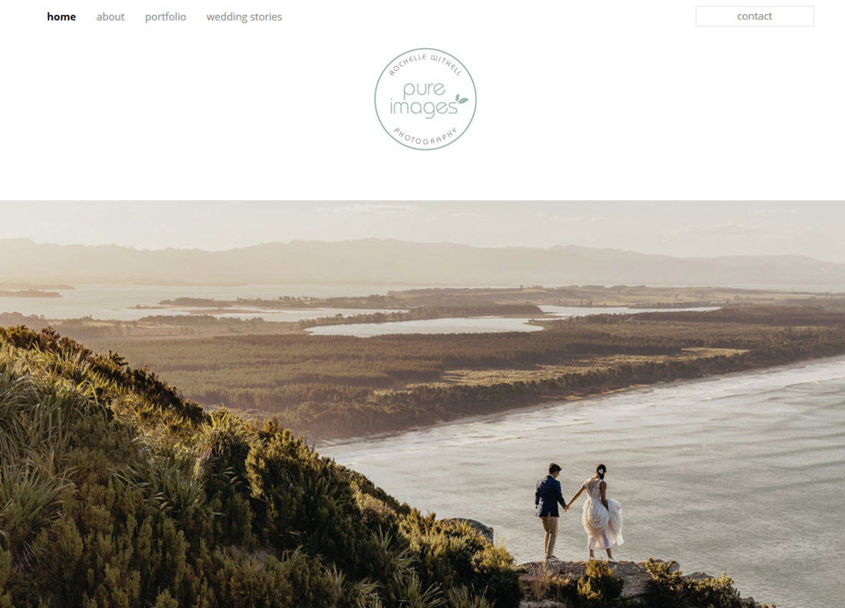 screenshot of the pure images website