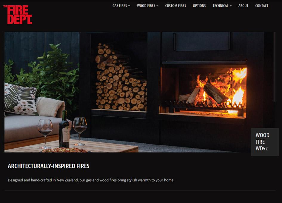 screenshot of the fire department website