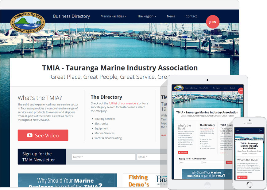 screenshot tmia.co.nz responsive website