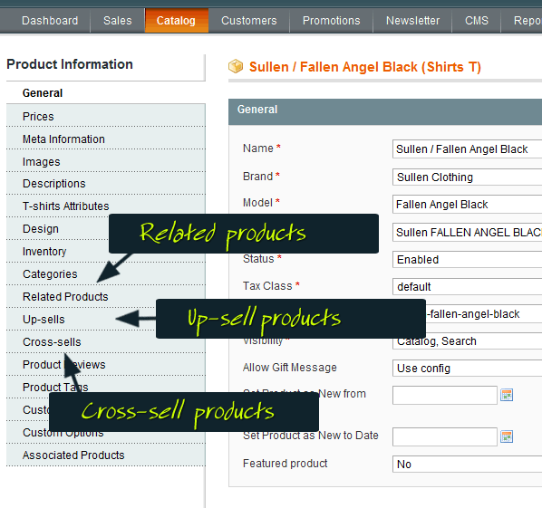 backend up-sell cross-sell and related products