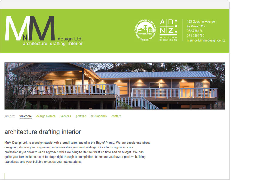 mnm design one page website