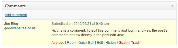 comment editing in post view