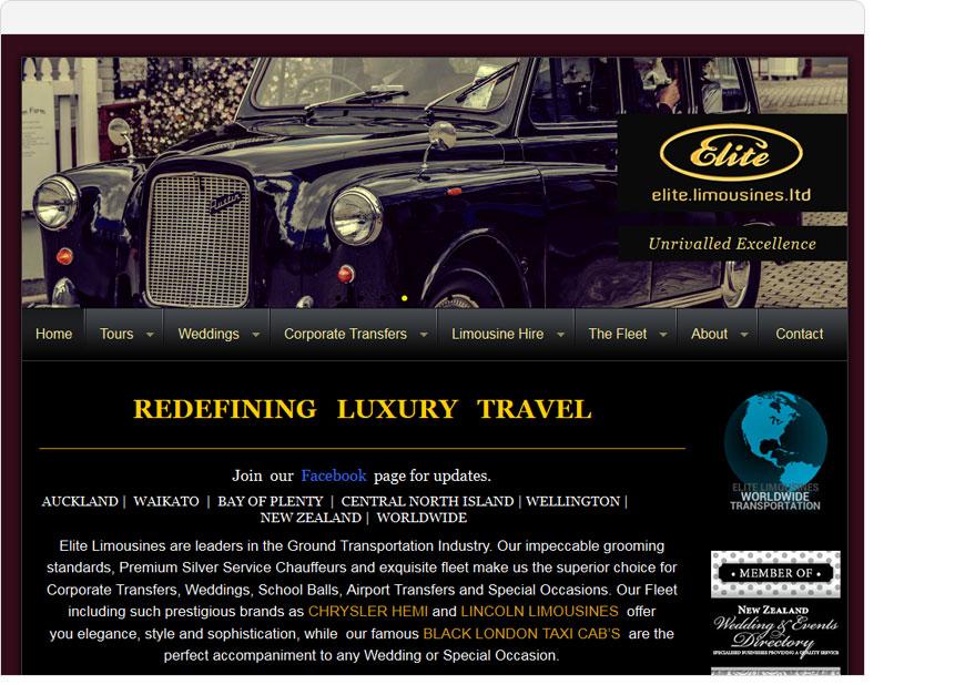 screenshot elite limousines website