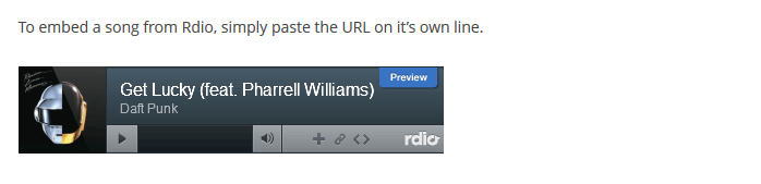 Rdio embeds in WordPress post
