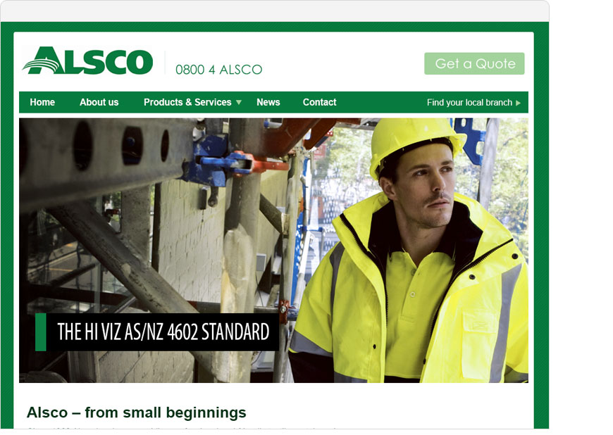 screenshot alsco website