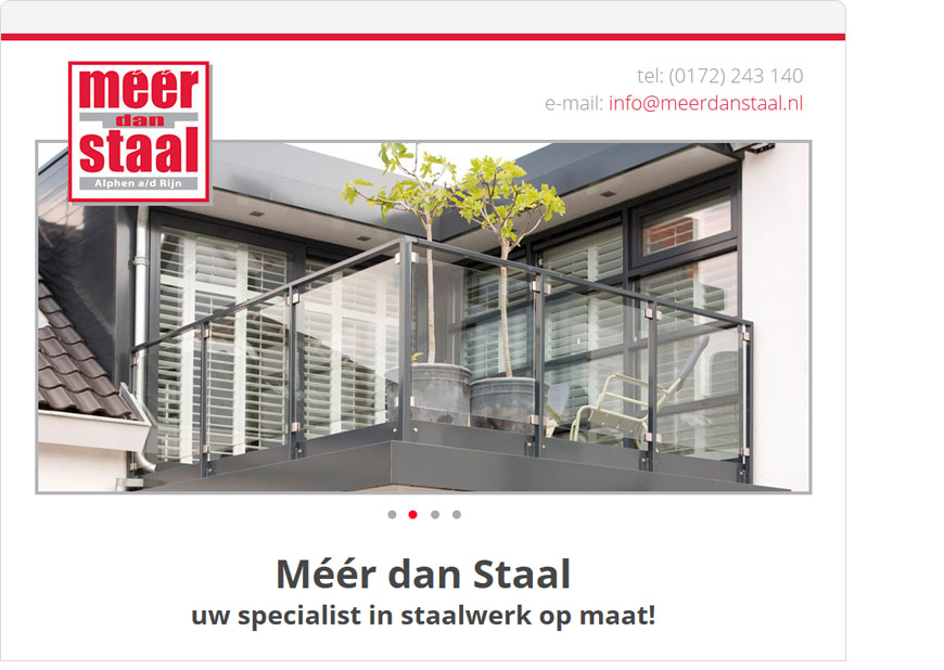 screenshot meer dan staal one page website