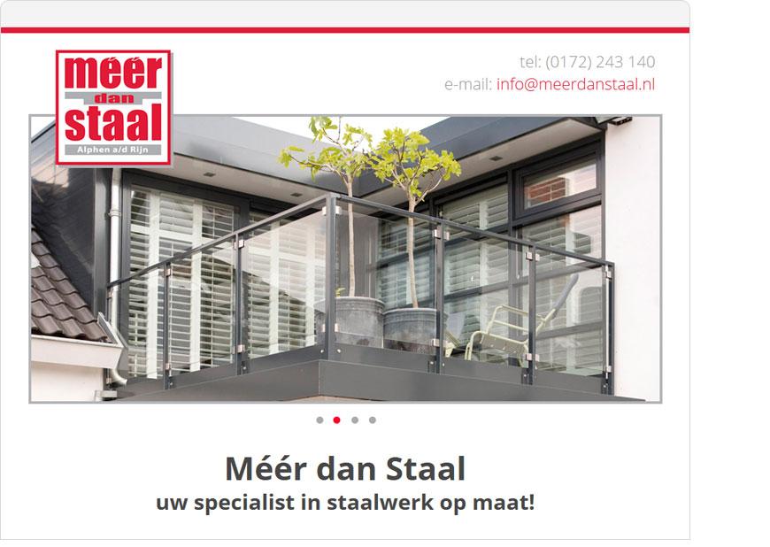screenshot meer dan staal one page website