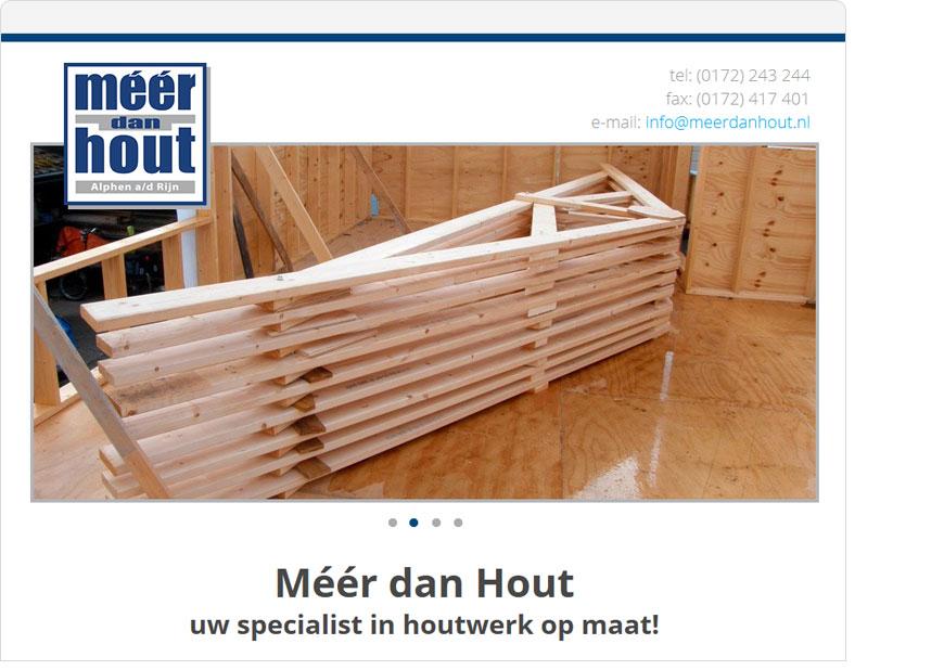 screenshot meer dan hout one page website