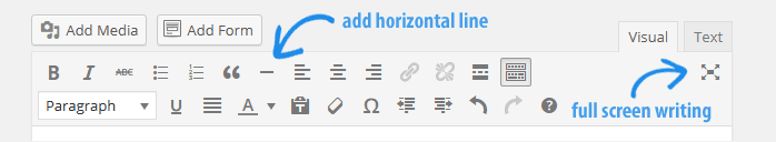 horizontal line button WordPress 3.9