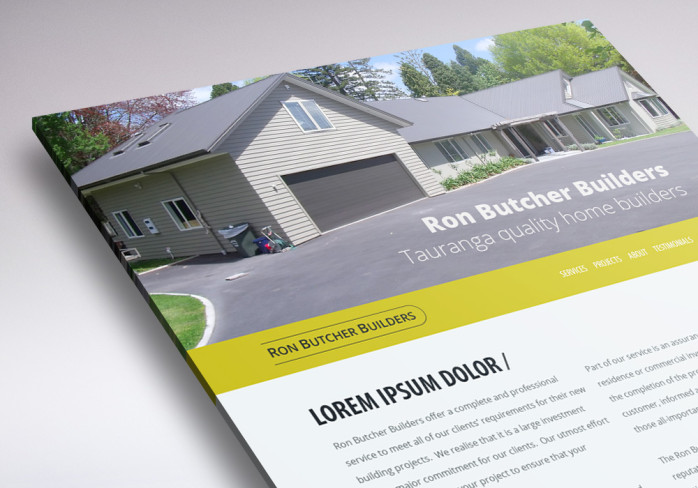 one page website for Ron Butcher Builders