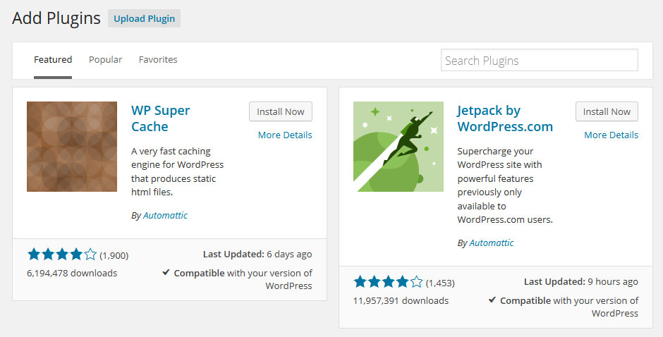 WordPress 4.0 plugin page