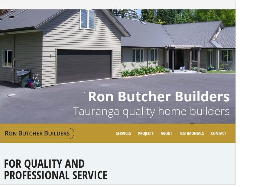 screenshot ronbutcherbuilders one page website