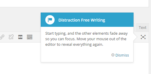 distraction free writing button
