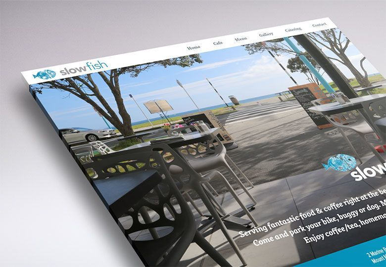 Working on the website design of Slowfish beach cafe (Mount Maunganui, NZ).