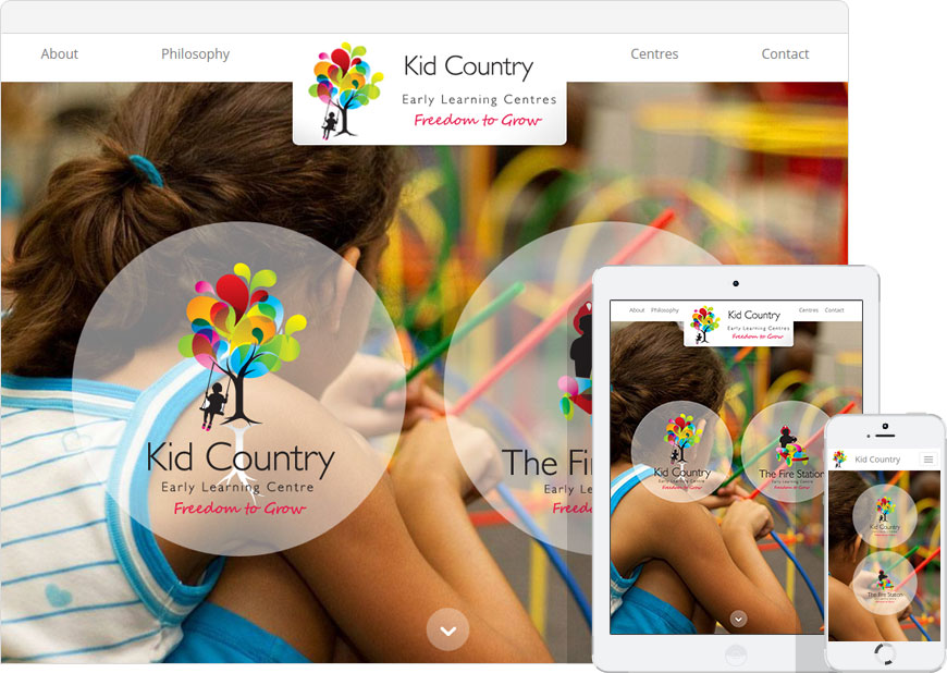 screenshot kidcountry one page website