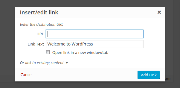 wordpress 4.2 add link popup box