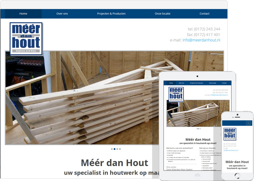 Mobile friendly one page website for meerdanhout