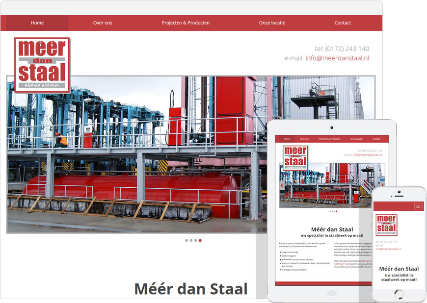Mobile friendly one page website for meerdanstaal