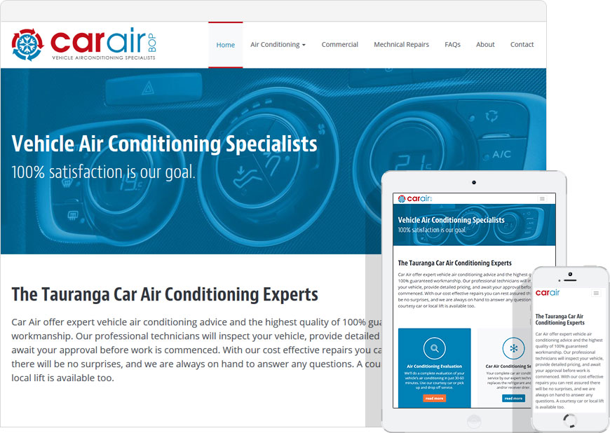 screenshot WordPress website Car Air BOP