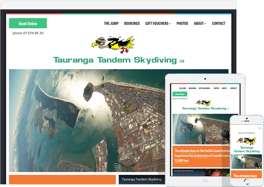 screenshot WordPress website Tauranga Tandem Skydive