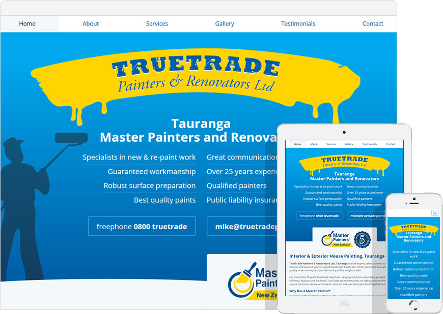 screenshot one page website truetradepainters