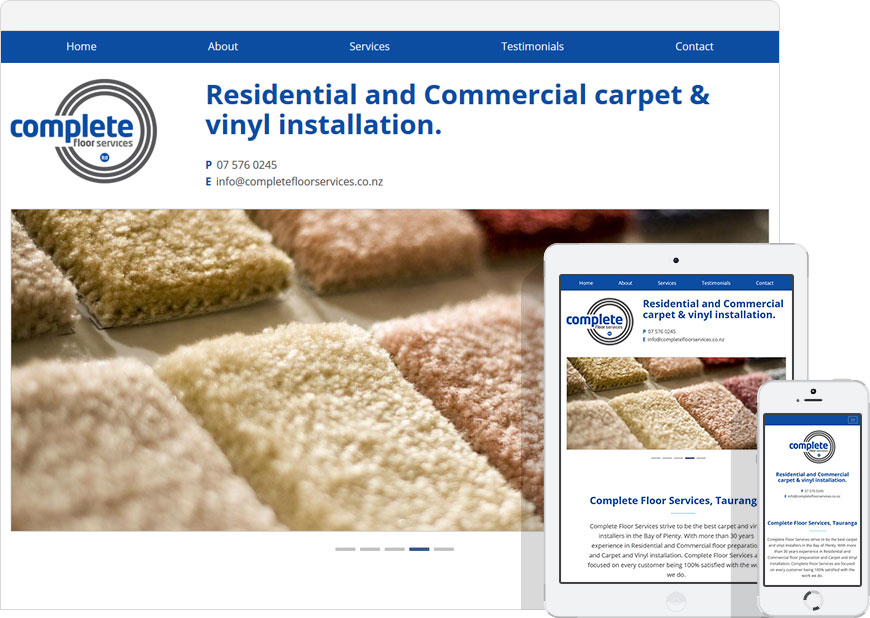 screenshot one page website complete floor services