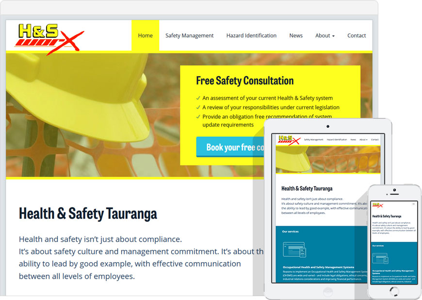 screenshot WordPress website up health and safety worx