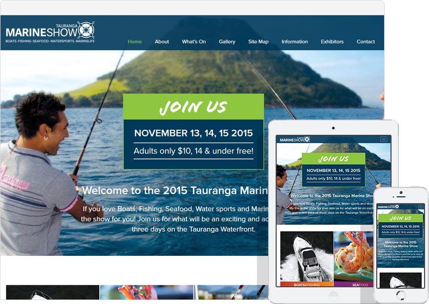 screenshot WordPress website Tauranga marine show
