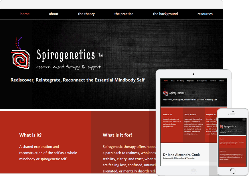 screenshot one page website spirogenetics