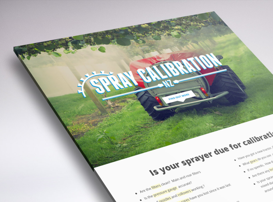 One page website design for Spray Calibration NZ
