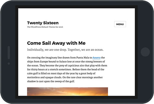 WordPress default theme Twenty Sixteen