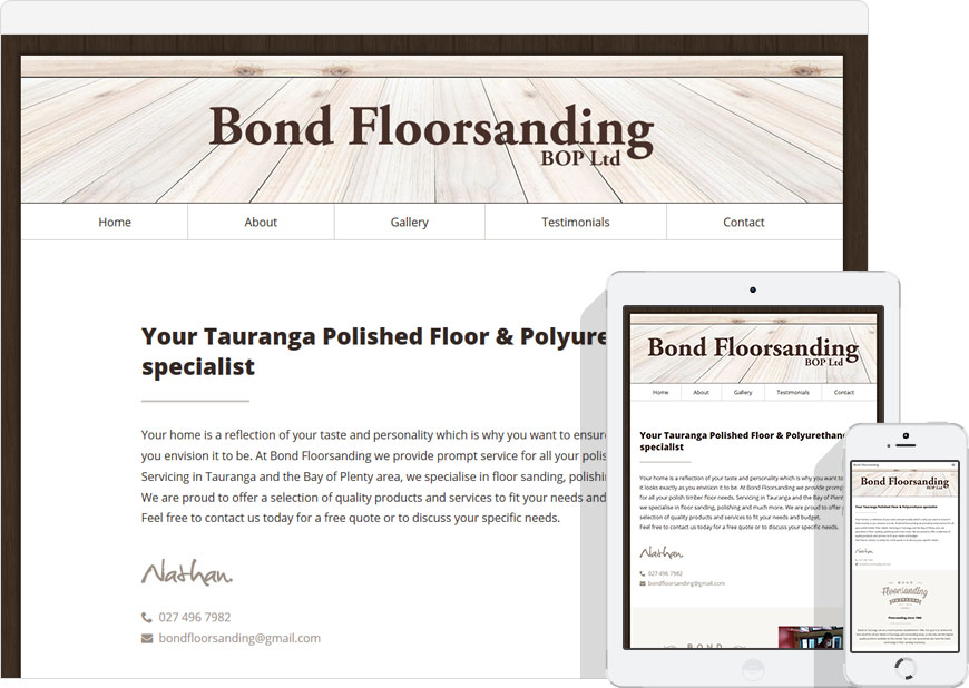 one page website bond floorsanding