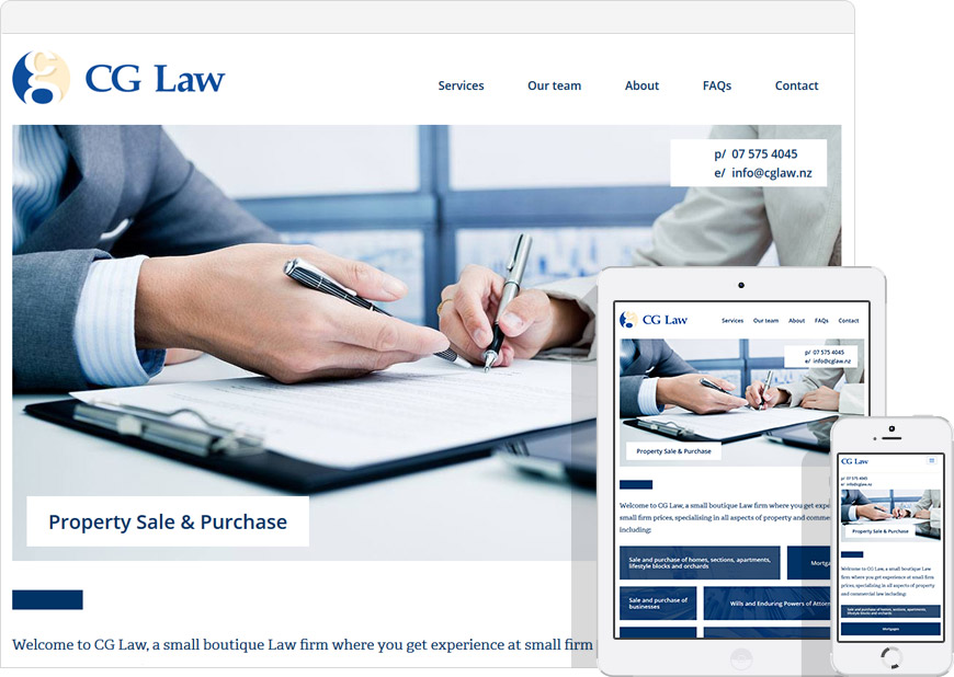 Laywer website for CG Law