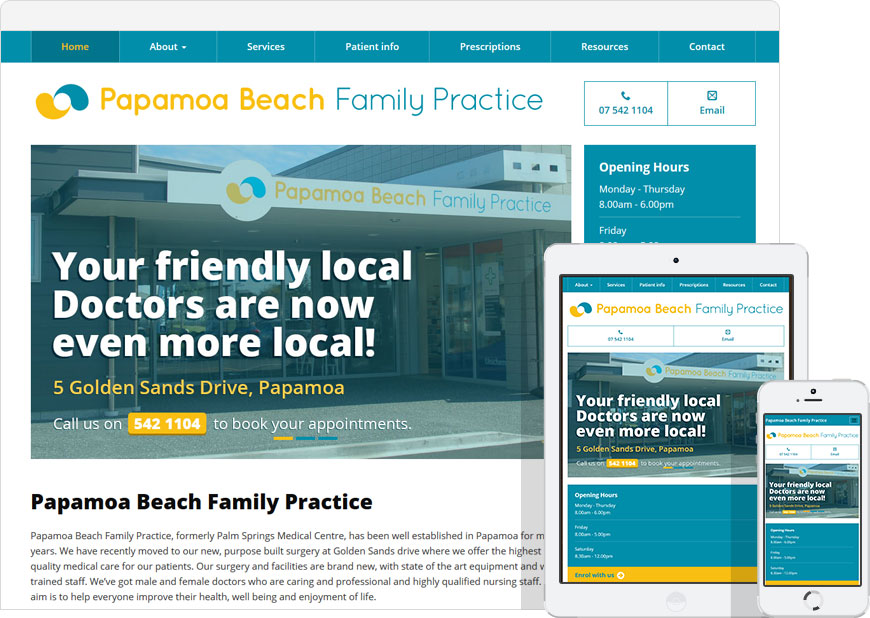 WordPress website papamoa beach family practice