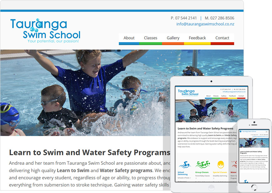 Up and running the website for Tauranga Swim School