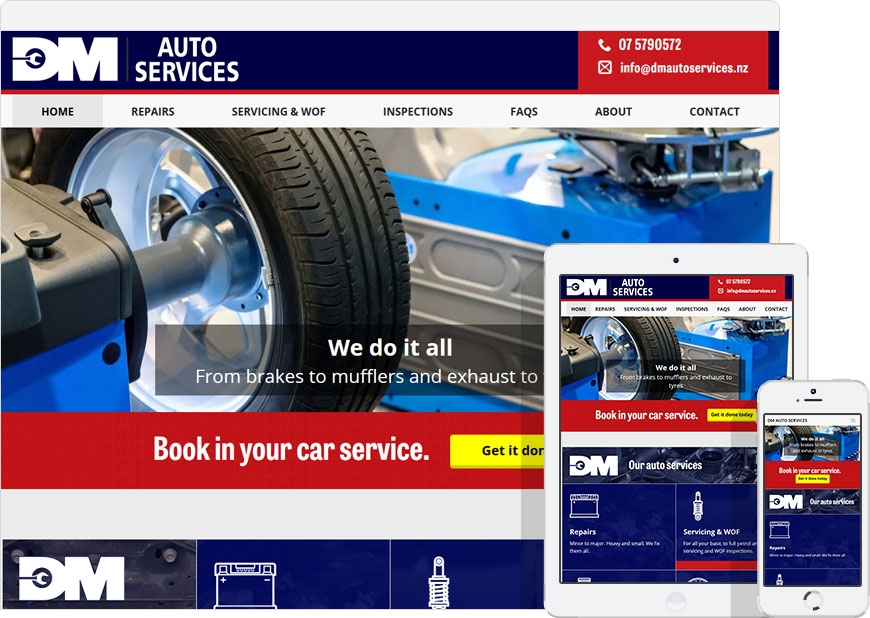 screen shot website dm auto services