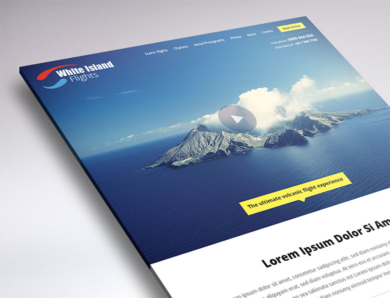 White Island Flights website design