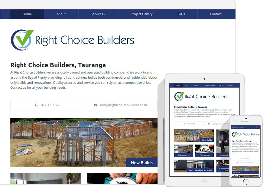 screen shot right choice builders website