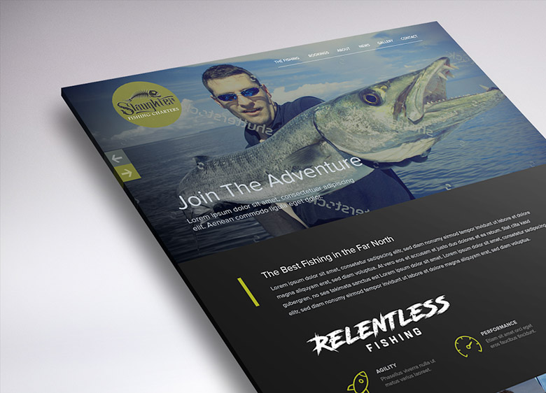 Working on the web design of Slaughter Fishing Charters.