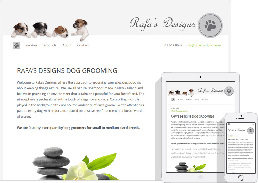 screen shot website for Rafas Designs