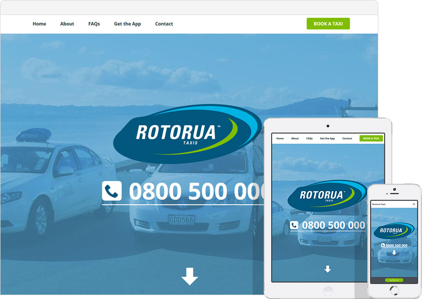 screen shot of the Rotorua Taxis website