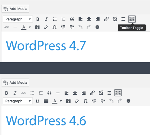 wordpress 4.7 editor changes