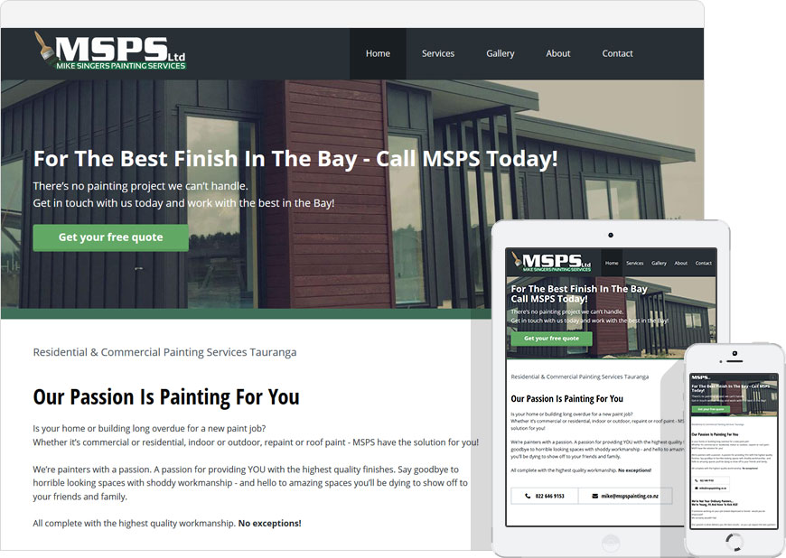 screenshot one page website for MSPS Painting