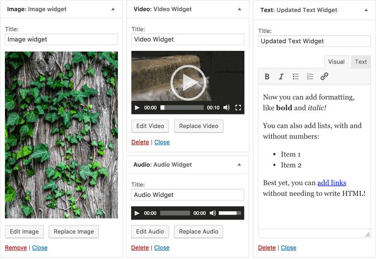 New WordPress 4.8 Media Widgets