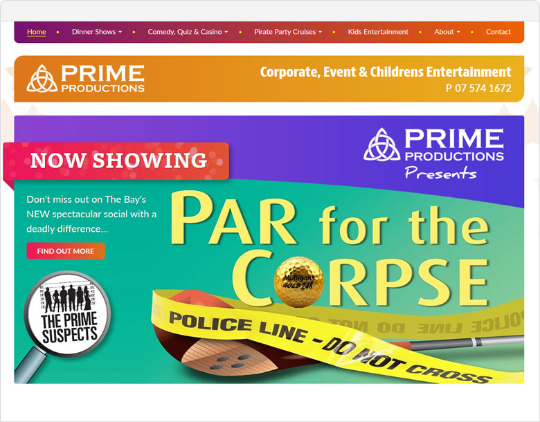 website screen shot Prime Productions