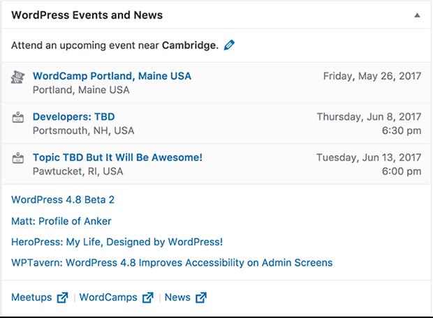 WordPress 4.8 Events Widget