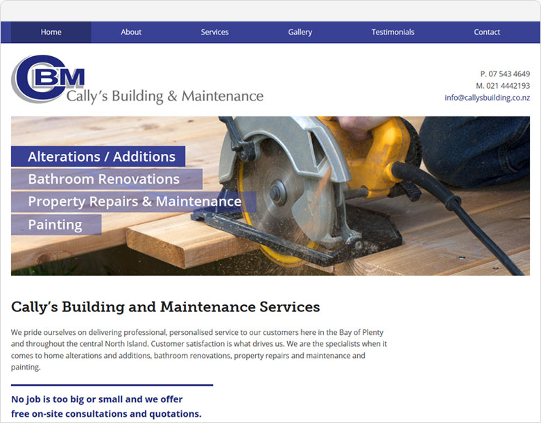 screenshot one page website cally's building