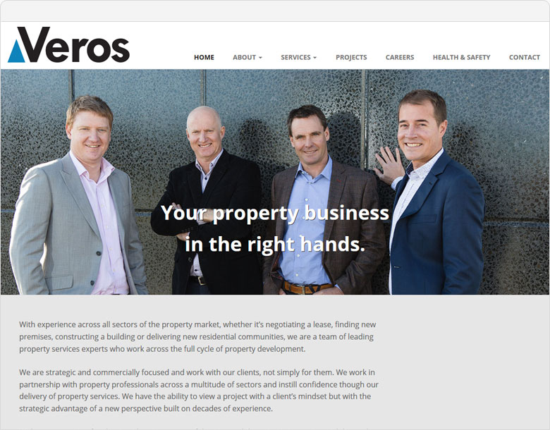 screenshot website veros.co.nz