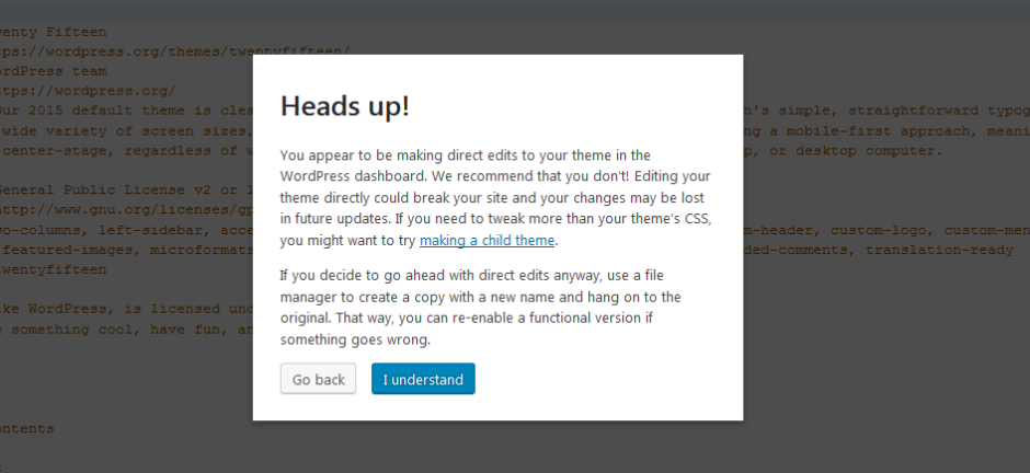 wordpress 4.9 code editing